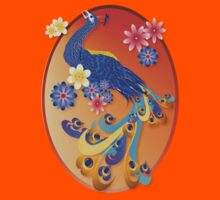 Fancy Peacock and Flowers Oval by Lotacats