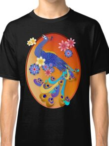 Fancy Peacock and Flowers Oval Classic T-Shirt
