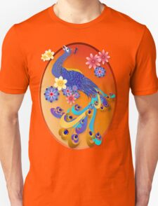 Fancy Peacock and Flowers Oval T-Shirt