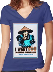 I Want YOU For Kombat Women's Fitted V-Neck T-Shirt