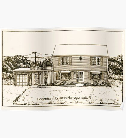 Hagerman House - Narragansett - Pen & Ink Poster