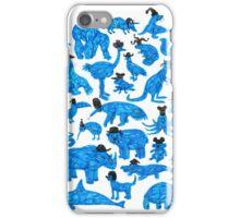 Blue Animals, Black Hats iPhone Case/Skin