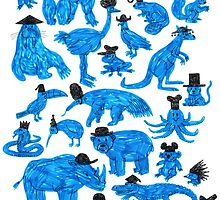 Blue Animals, Black Hats by WanderingBert
