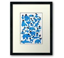 Blue Animals, Black Hats Framed Print