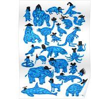 Blue Animals, Black Hats Poster