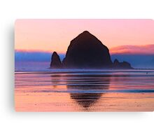 Summer Sunset at Haystack Rock Canvas Print