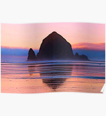 Summer Sunset at Haystack Rock Poster