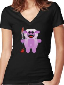 SHEEP 2 (Cute pet with a sharp knife!) Women's Fitted V-Neck T-Shirt