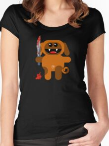 DOG 2 (Cute pet with a sharp knife!) Women's Fitted Scoop T-Shirt