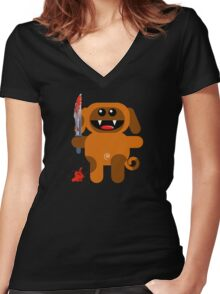 DOG 2 (Cute pet with a sharp knife!) Women's Fitted V-Neck T-Shirt