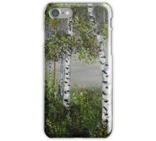 aspen trees, shades of grey, impressionism art, home decor iPhone Case/Skin