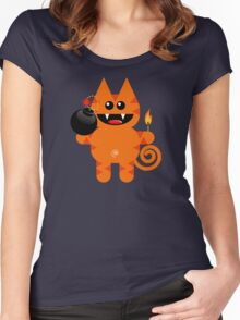 KAT 4 (Cute pet has a bomb and its alight!) Women's Fitted Scoop T-Shirt