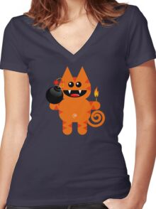 KAT 4 (Cute pet has a bomb and its alight!) Women's Fitted V-Neck T-Shirt