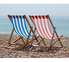 Classic Deck Chairs Photographic Print