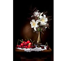 White Lily with Red Cherries Still life Photographic Print