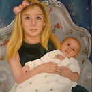 Caitlyn and New Baby Sister...Colleen by Cathy Amendola