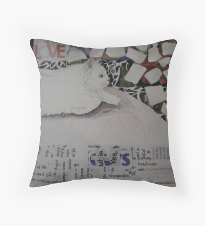 drawing of Sugar with collage pieces Throw Pillow