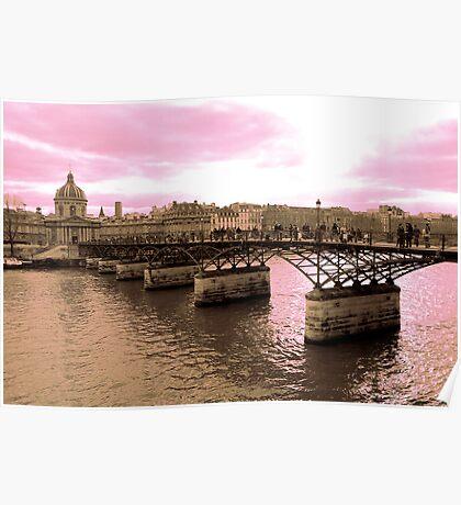 Parisian Mosaic - Piece 16 - Pink Sky Above The Ponts des Arts Poster