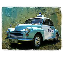 Morris Minor Police Car in Art Photographic Print