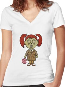 Zombie Girl Women's Fitted V-Neck T-Shirt
