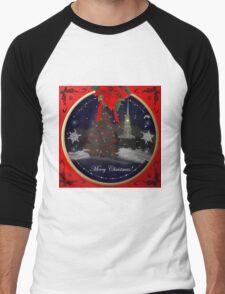 Christmas Scene Men's Baseball ¾ T-Shirt