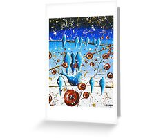 Bluebirds on a Wire Original Modern Art Greeting Card