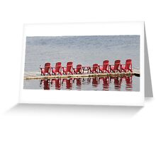 Five Red Muskoka Chairs - Lake Muskoka Greeting Card