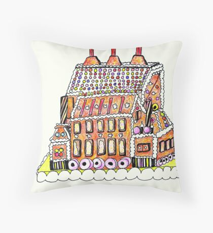 Gingerbread Factory Throw Pillow