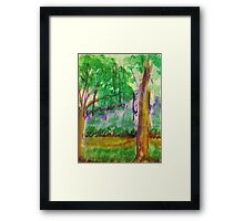 Misty Morning on Path in Park. watercolor Framed Print