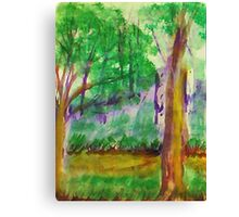 Misty Morning on Path in Park. watercolor Canvas Print