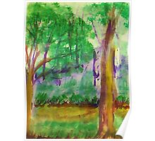 Misty Morning on Path in Park. watercolor Poster