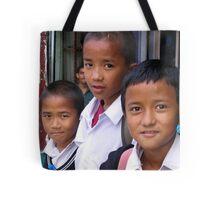 school day. gangtok, sikkim Tote Bag