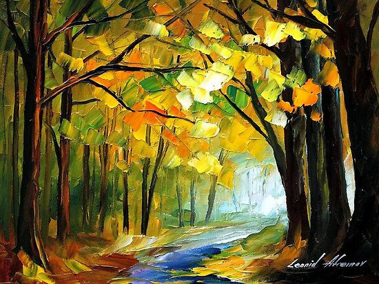 The path Of Sunbeams - original oil painting on canvas by Leonid Afremov by Leonid  Afremov
