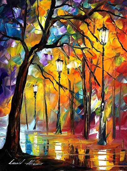 Night loneliness - original oil painting on canvas by Leonid Afremov by Leonid  Afremov