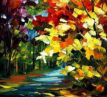 The Gold Of Fall - original oil painting on canvas by Leonid Afremov by Leonid  Afremov