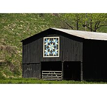 Kentucky Barn Quilt - Snow Crystals Photographic Print