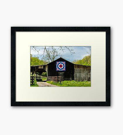 Kentucky Barn Quilt - Carpenters Wheel Framed Print