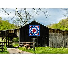 Kentucky Barn Quilt - Carpenters Wheel Photographic Print