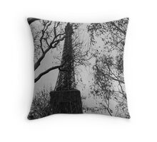 The Eiffel Tower In Winter Throw Pillow