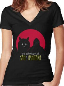The Adventures of San & Ashitaka Women's Fitted V-Neck T-Shirt