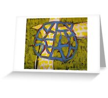 white crow with blue net Greeting Card
