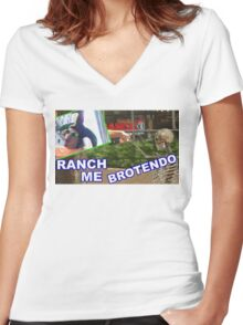 RANCH ME BROTENDO Women's Fitted V-Neck T-Shirt