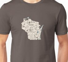Wisconsin Vintage Picture Map Unisex T-Shirt