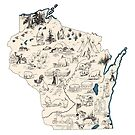 Wisconsin Vintage Picture Map by surgedesigns