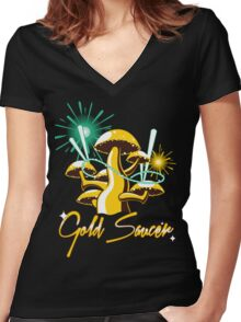 Gold Saucer Women's Fitted V-Neck T-Shirt