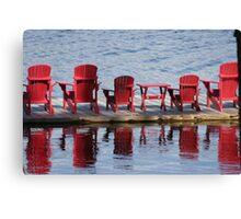 Red Muskoka Chairs - Lake Muskoka Canvas Print