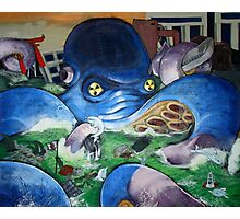 """ Radioactive Octo- Contemporary blue octopus painting"" Photographic Print"