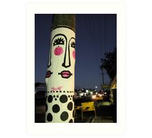 Face painted telephone pole Art Print