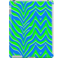 Neon Green and Blue Zebra Stripes iPad Case/Skin