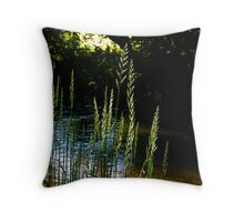 Grasses on the river bank Throw Pillow